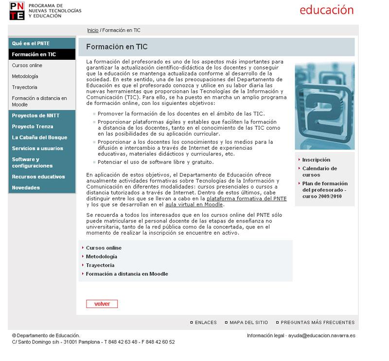 Página web del PNTE dedicada a la formación online