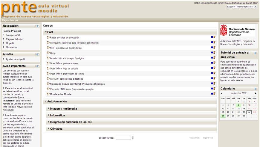 Aula virtual del PNTE en Moodle