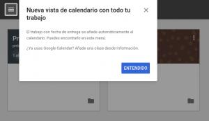 Mensaje activación Google Calendar