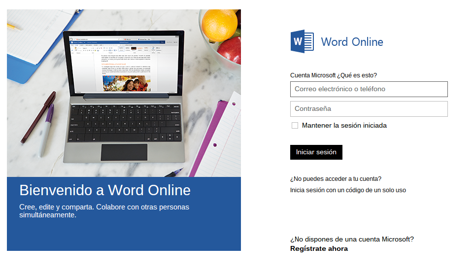 Acceso a Word online