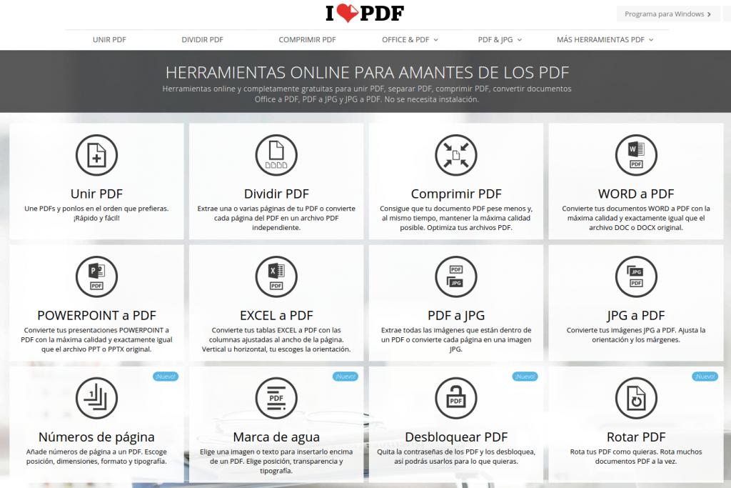 Características y funciones de iLovePDF