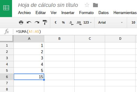 La función SUMA en castellano