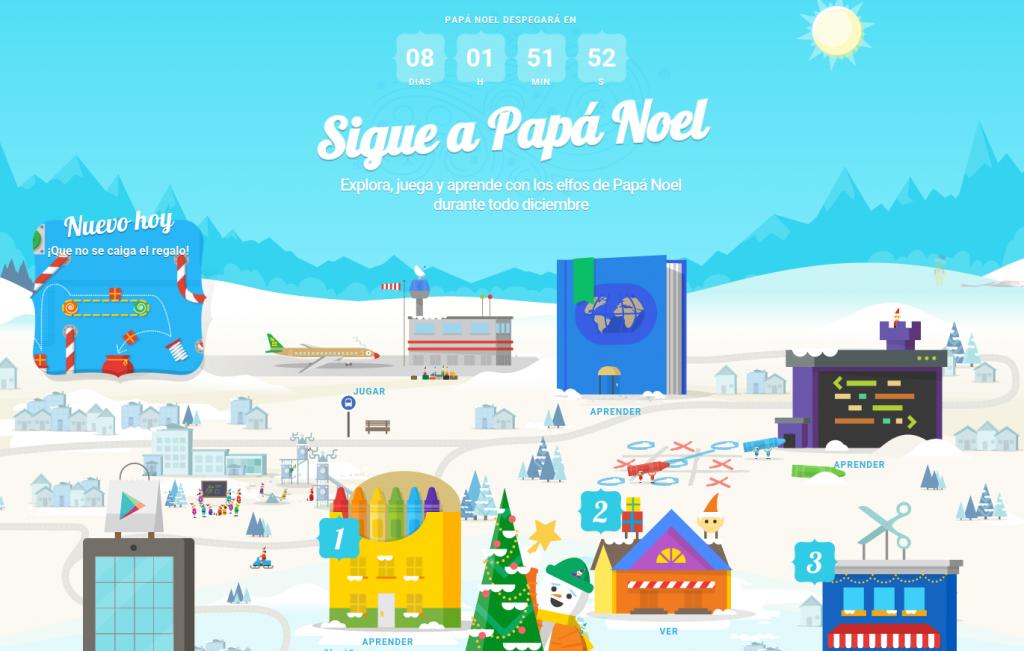 Actividades del portal Santa Tracker de Google