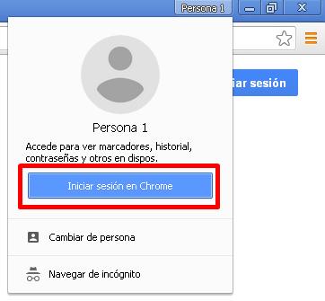 """Botón azul """"Iniciar sesión en Chrome"""""""