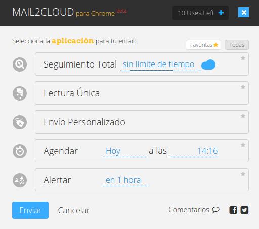 Opciones de Mail2Cloud