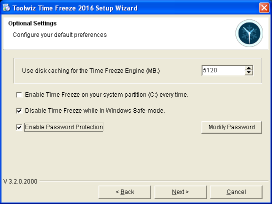 Pantalla de instalación de ToolWiz Time Machine