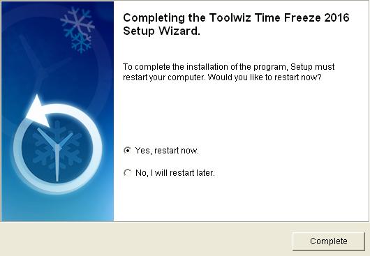 Reinicio del sistema necesario tras la instalación de ToolWiz