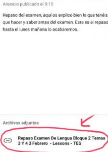Enlace en Google Classroom