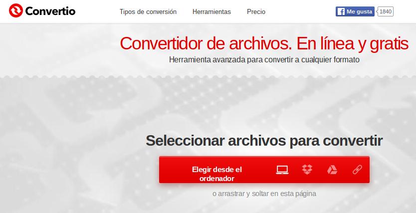 Convertio, convertidor de archivos en línea