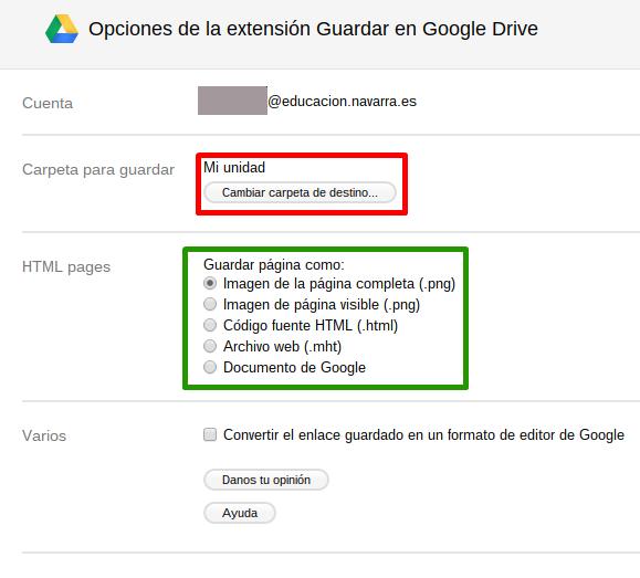 Configuración de Guardar en Google Drive