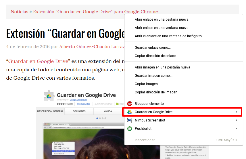 Menú Contextual Guardar en Google Drive