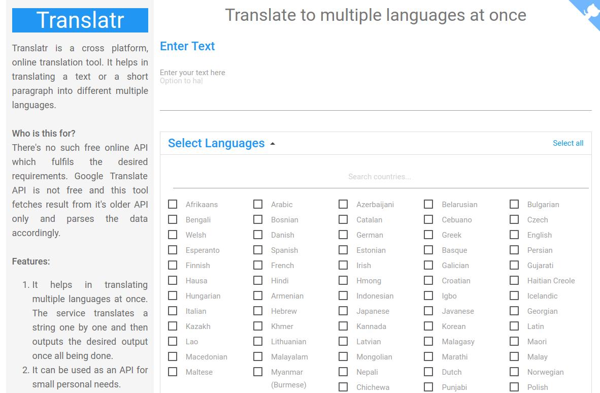 Translatr, traduce textos cortos a múltiples idiomas