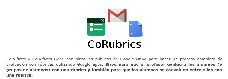 CoRubrics, plantilla pública de Google Drive para hacer un proceso completo de evaluación con rúbricas
