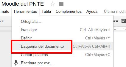 Opción Esquema del documento