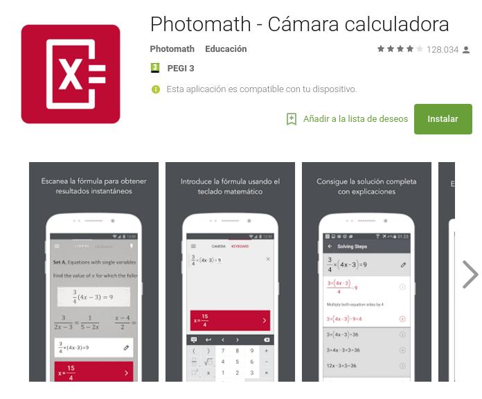 Photomath, cámara calculadora
