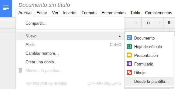 Nuevas plantillas en Google Docs