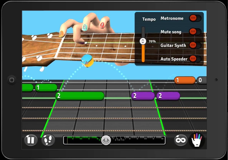 Lección de guitarra con la app de Android