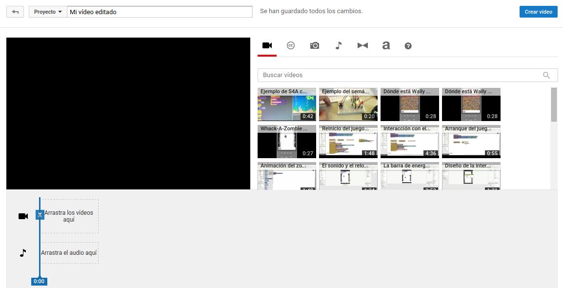 Página principal del editor de YouTube