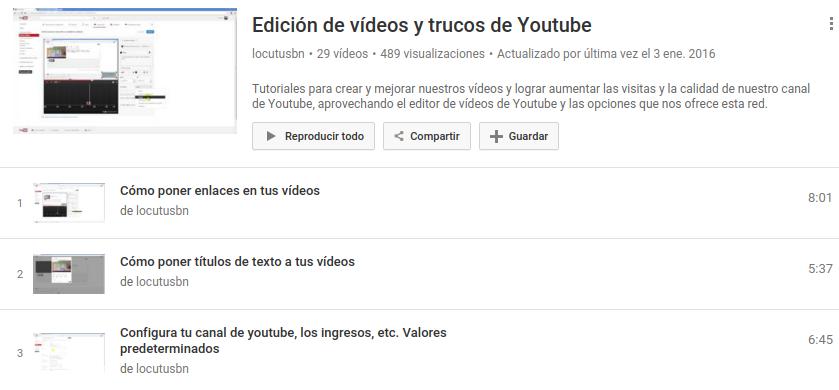 Lista de reproducción con tutoriales del editor de YouTube