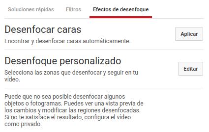 Desenfocar caras con YouTube