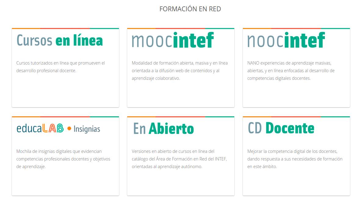 Oferta formativa del INTEF en un solo espacio web