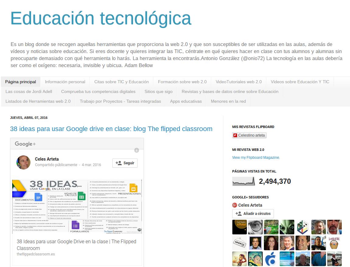 Educación Tecnológica. Blog sobre las TIC en Educación de Celestino Arteta