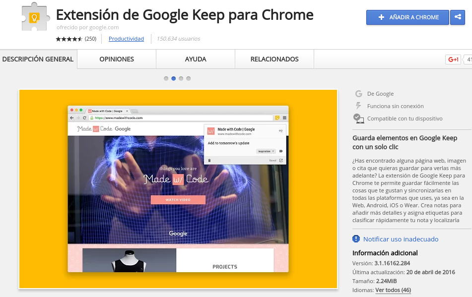Extensión de Google Keep para Google Chrome