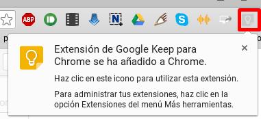 Extensión Google Keep