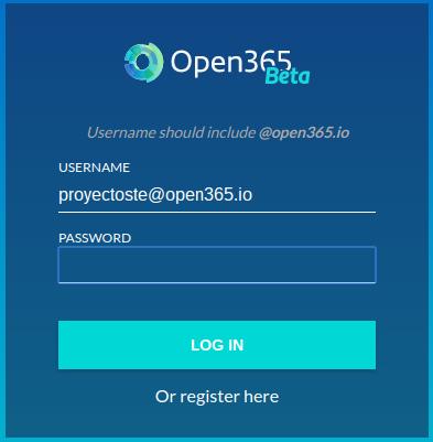 Inicio de sesión en Open 365