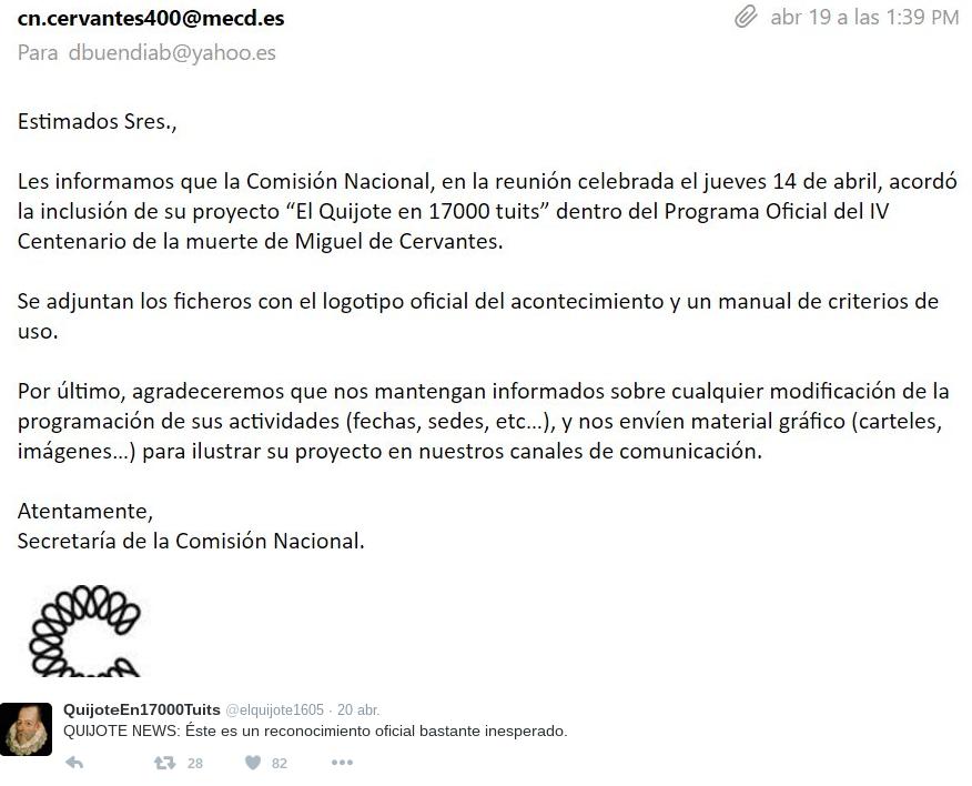 Reconocimiento del proyecto El Quijote en 17000 tuits