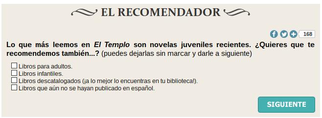 El Recomendador de libros de El Templo de las Mil Puertas