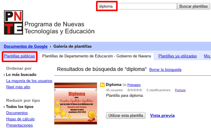Plantillas en Documentos de Google