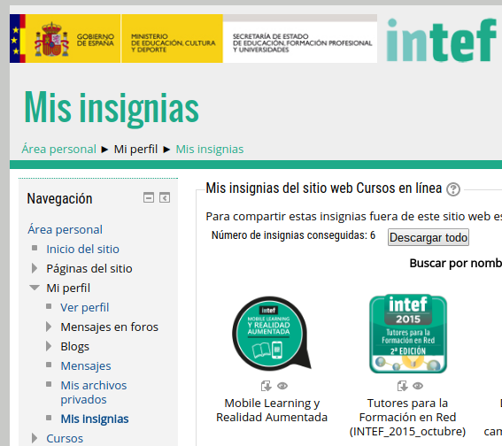 Repositorio de insignias del INTEF