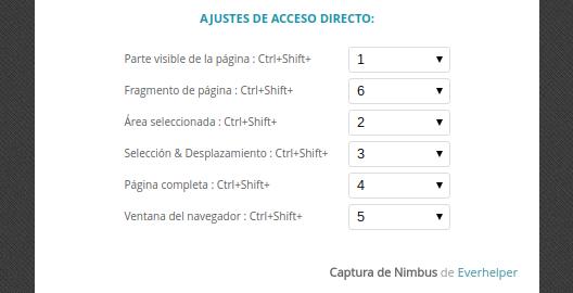 Ajustes de acceso directo