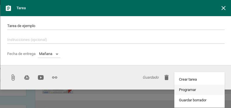 Programar tareas en Google Classroom
