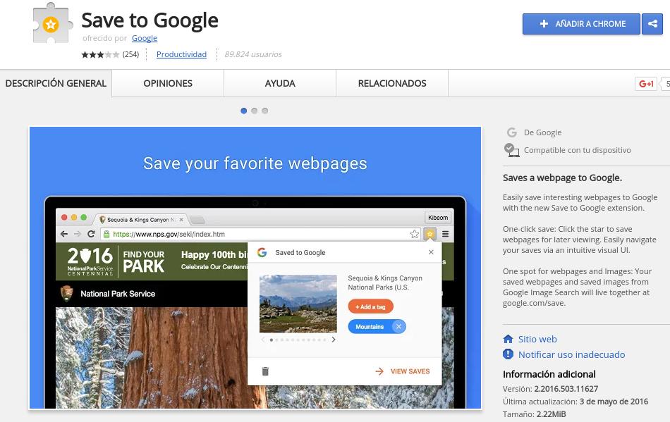 Save to Google. Guardar páginas web para verlas luego