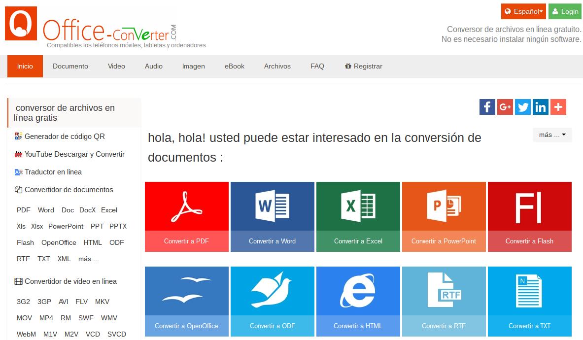 Office Converter, conversor de archivos en línea