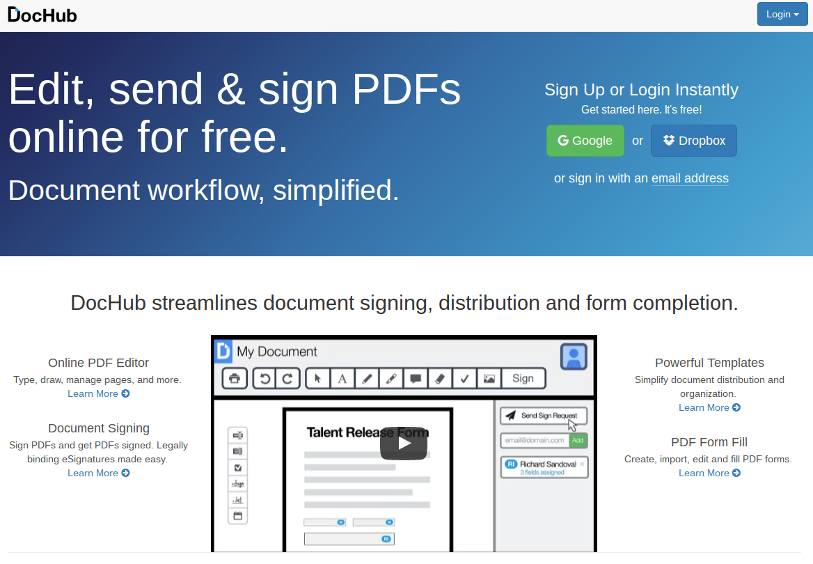 DocHub, editor de archivos PDF online