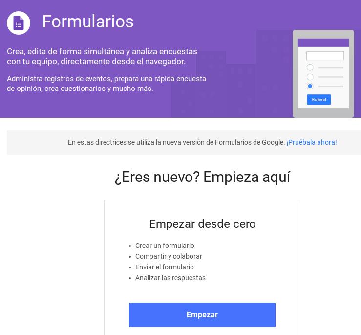 Aprender a utilizar los Formularios de Google