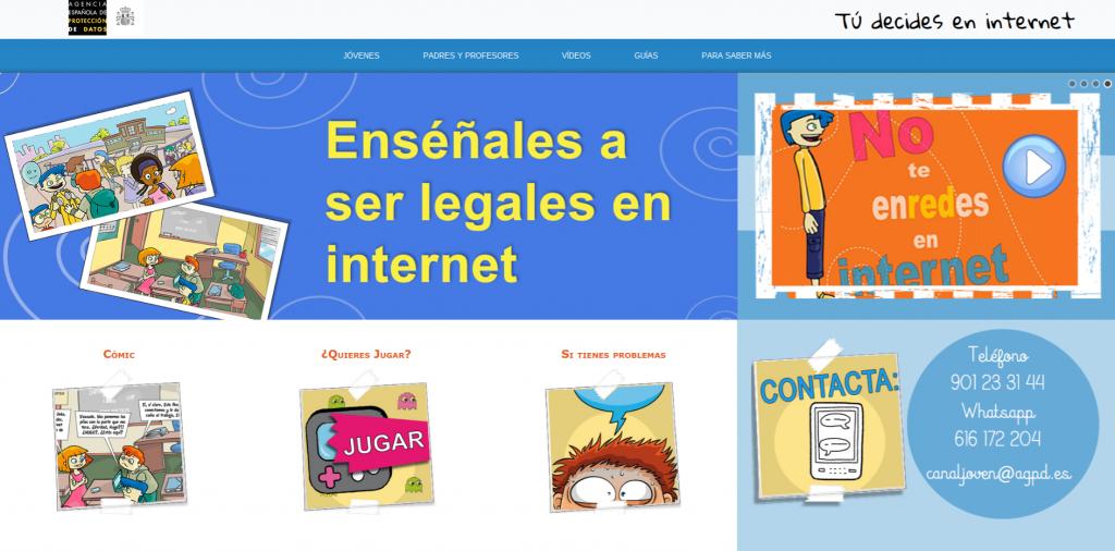 Captura de pantalla de la página web de la AEPD