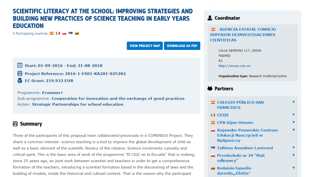 Captura de pantalla del proyecto: SCIENTIFIC LITERACY AT THE SCHOOL: IMPROVING STRATEGIES AND BUILDING NEW PRACTICES OF SCIENCE TEACHING IN EARLY YEARS EDUCATION