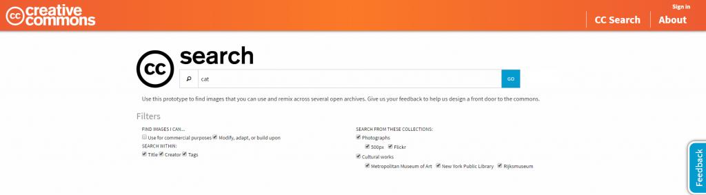 Captura de pantalla de la página del buscador de imágenes de creative commons