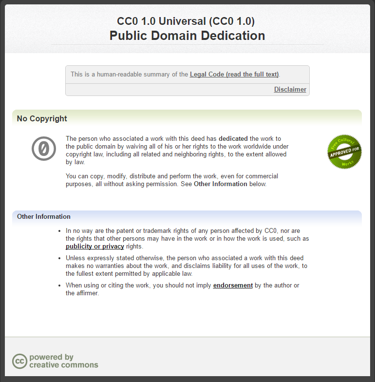 Licencia creative commons uso universal