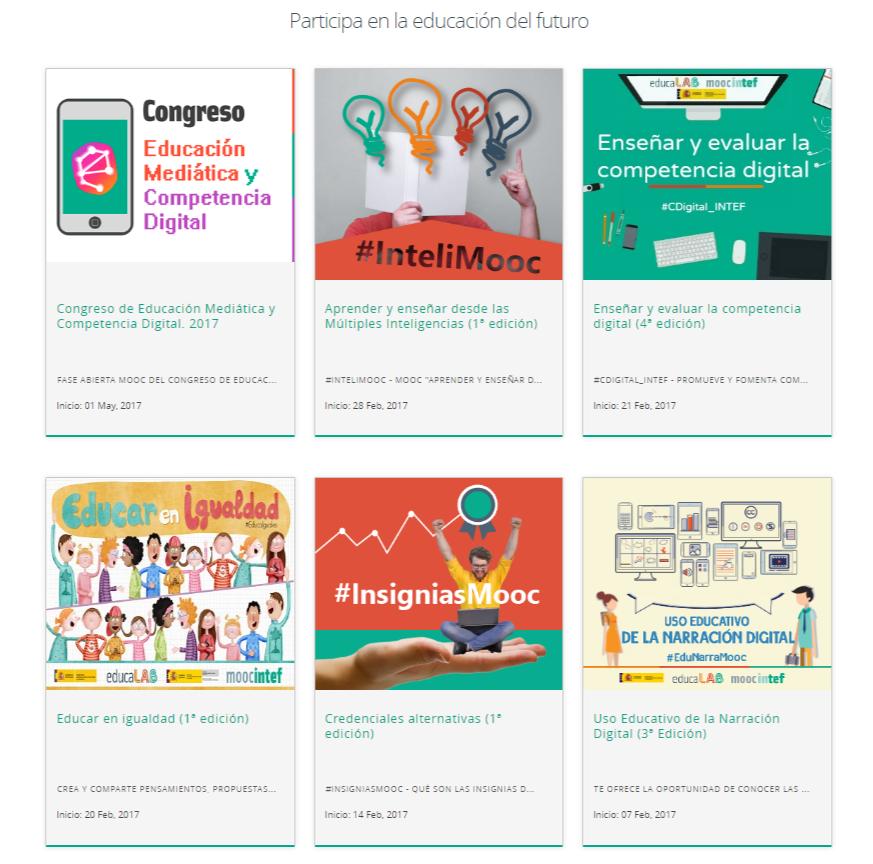 Captura de pantalla de los MOOCs de educaLab