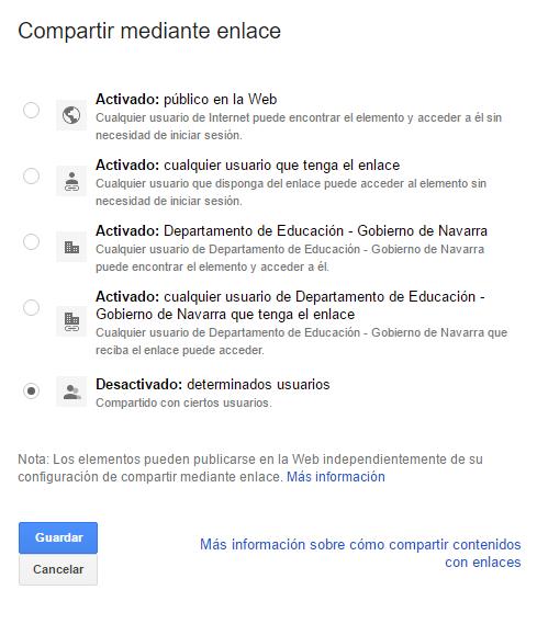 Opciones para compartir un documento de Google Drive