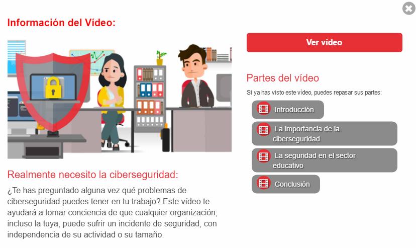 Captura de pantalla de la información de los vídeos de Ciberseguridad