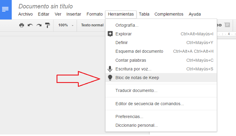 Captura de pantalla de Google Docs