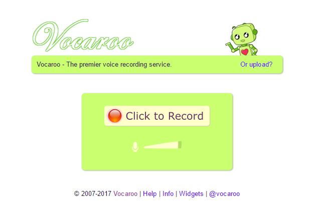 Captura de pantalla de Vocaroo.com
