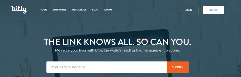 Captura de pantalla de la página de Bitly
