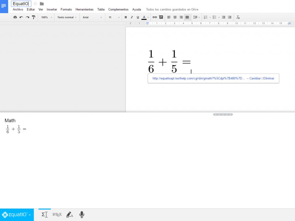 Extensión Equatio en Google Docs